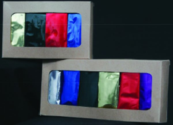 Colored Bags Shown in Packaged Box