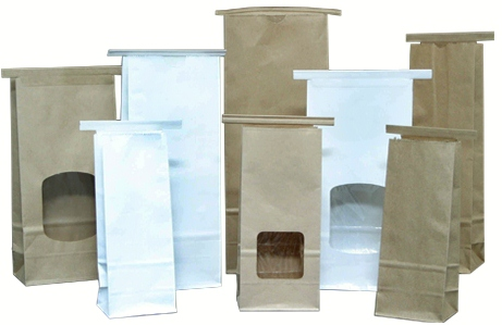 white and brown stand up tin tie paper bags
